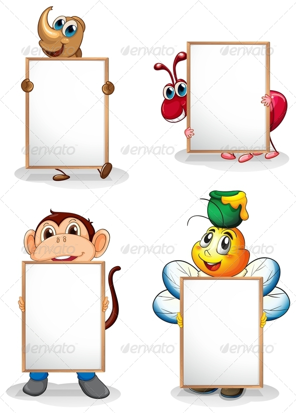 GraphicRiver Four Whiteboards in Front of the Four Animals 8071136