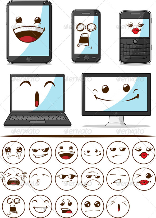 GraphicRiver Smart Phone Laptop Computer with Funny Faces 8071138