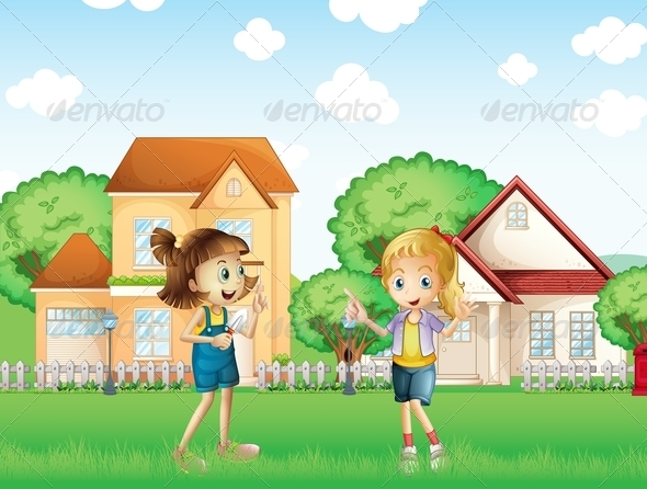 GraphicRiver Two Young Ladies Playing in the Ground 8071140