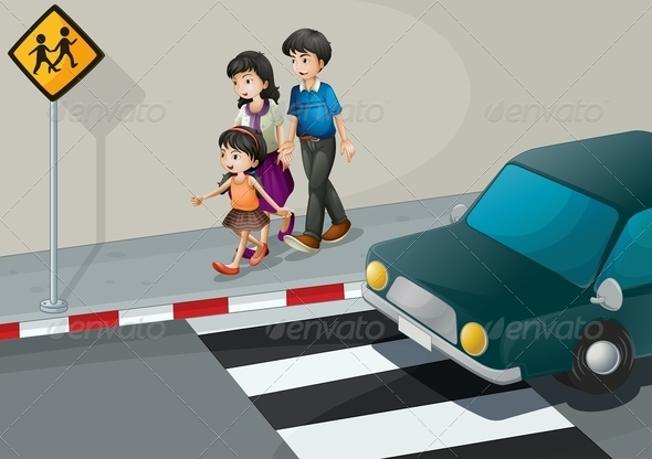 GraphicRiver A Family Walking at the Street 8071146
