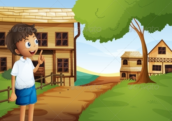 GraphicRiver A Boy at the Pathway in the Neighborhood 8071147
