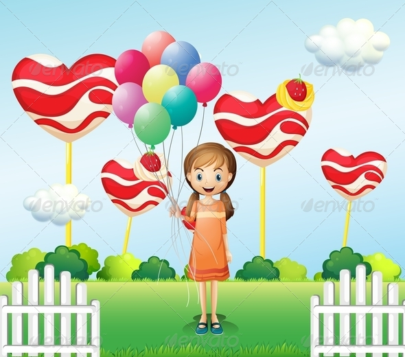 GraphicRiver A Girl in the Candyland with Eight Balloons 8071179