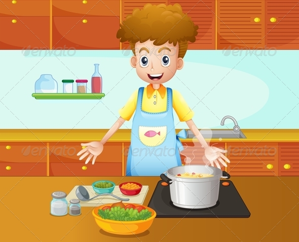 GraphicRiver A Male Chef Cooking in the Kitchen 8071190