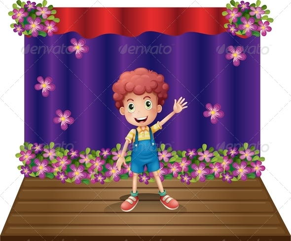 GraphicRiver A Stage with a Young Boy Waving Happily 8071197