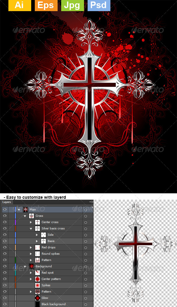 GraphicRiver Gothic Silver Cross 8071207