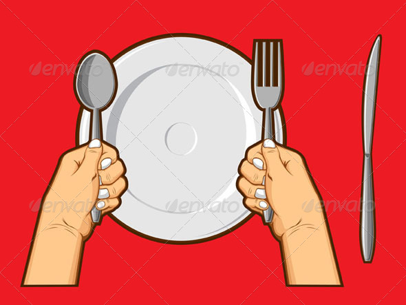 GraphicRiver Hands Holding Cutlery 8071208