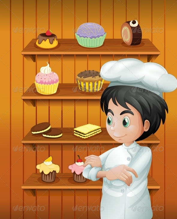 GraphicRiver A Chef in Front of the Baked Goodies 8071209