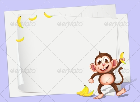 GraphicRiver Empty Papers with a Monkey and Bananas 8071210