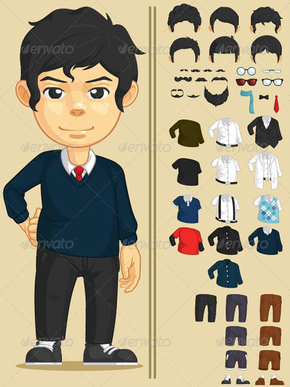 GraphicRiver Handsome Man Customizable Character 8071216