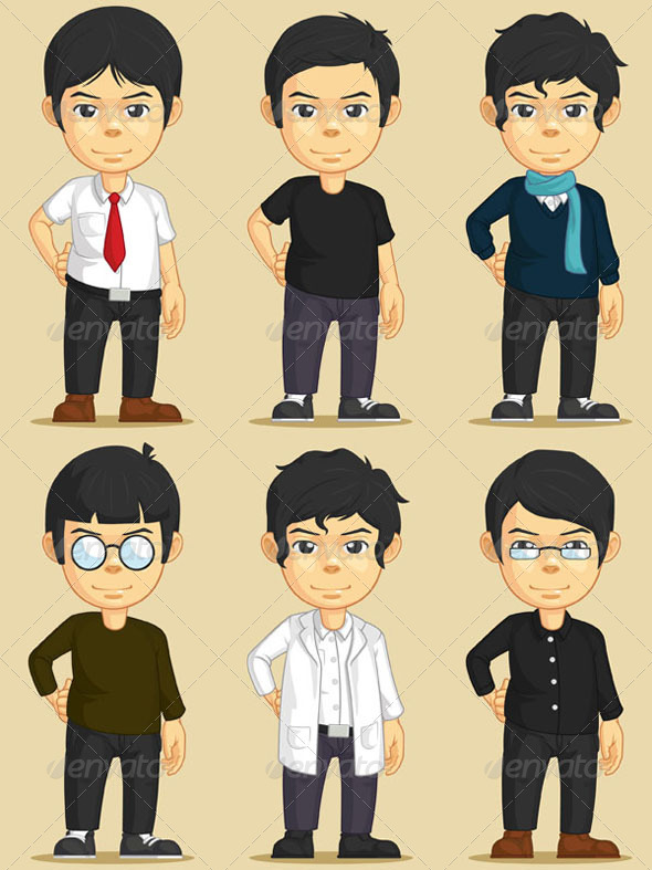 GraphicRiver Handsome Young Man Character Set 8071219