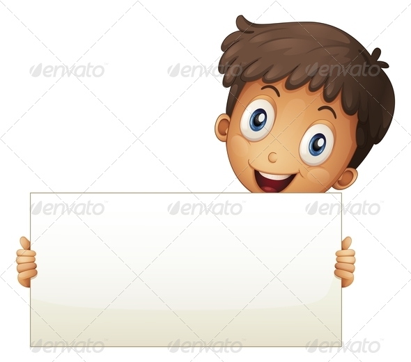 GraphicRiver A Smiling Young Boy Holding an Empty Signage 8071223