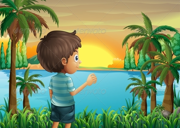GraphicRiver A Boy Watching the Sunset at the Riverbank 8071225