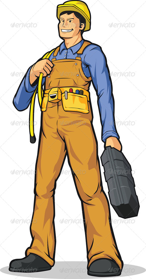 Industrial Construction Worker with Rope & Tool Box