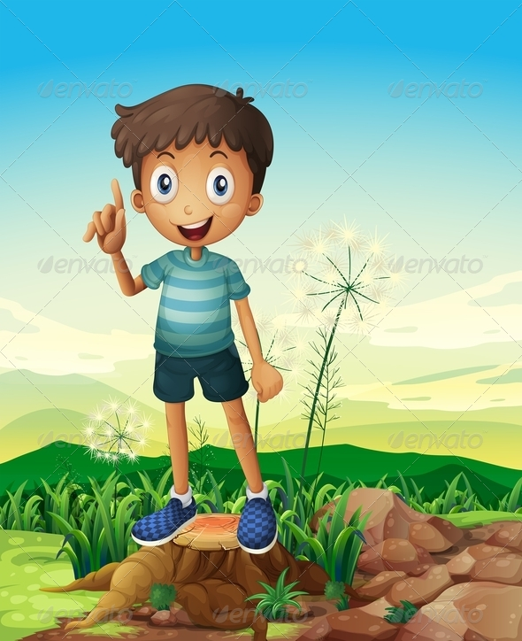 GraphicRiver A Stump with a Young Boy Standing 8071230