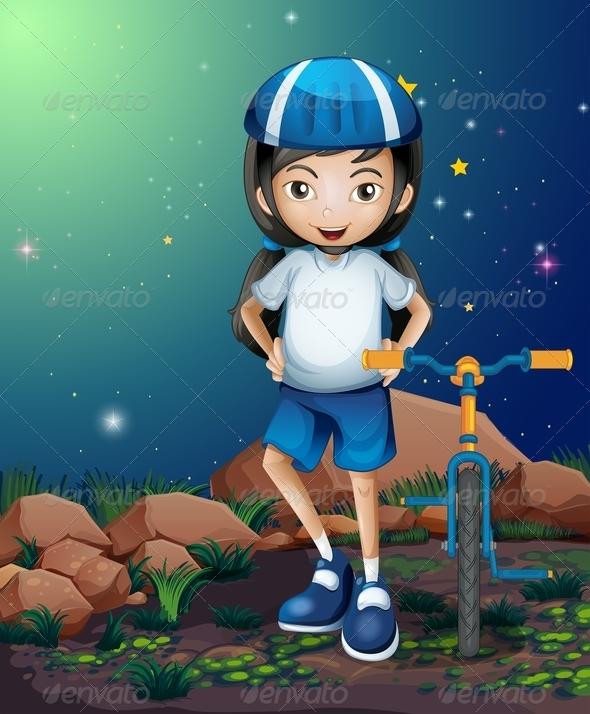 GraphicRiver A Female Biker Standing Near the Rocks 8071231