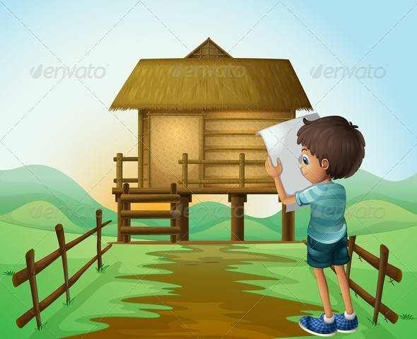 GraphicRiver A Boy with a Paper in Front of the Nipa Hut 8071237