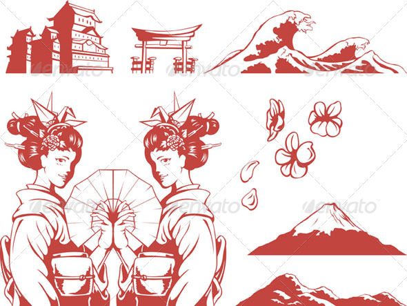 GraphicRiver Japanese Set Girl in Kimono Sakura Mountain 8071236