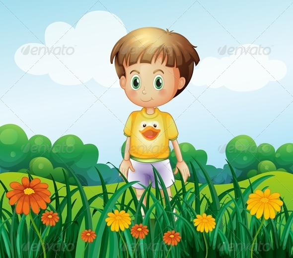 GraphicRiver A Young Boy in Front of the Garden at the Hilltop 8071243