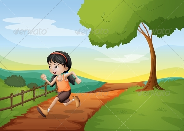 GraphicRiver A Girl Running Hurriedly at the Hill 8071245