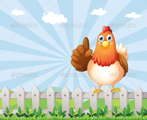 GraphicRiver A Big Fat Hen on the Fence 8071272