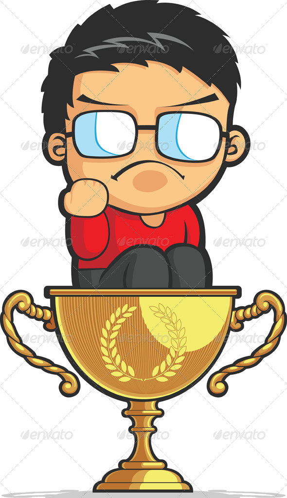 GraphicRiver Kid Making Success Fist on Achievement Trophy 8071291