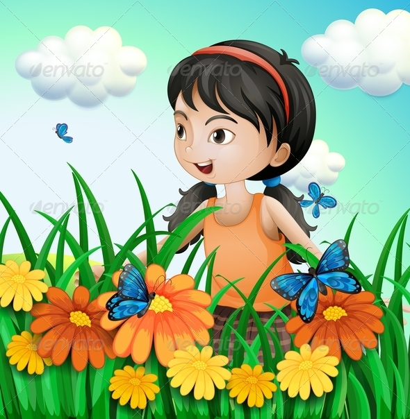 GraphicRiver A Girl in the Garden with Butterflies 8071320
