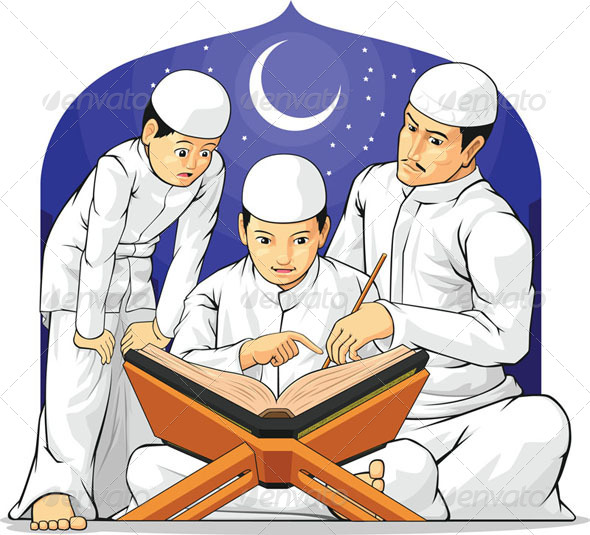 GraphicRiver Kids Learn to Read Al-Quran with Their Father 8071321