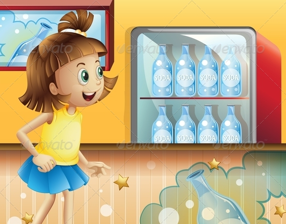 GraphicRiver A Happy Young Girl Inside the Store Selling Sodas 8071371