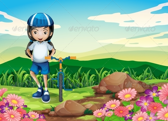 GraphicRiver A Young Girl with a Bike Standing Near the Rocks 8071374
