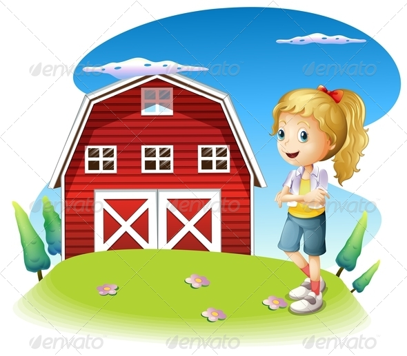 GraphicRiver A Girl in Front of the Red Barnhouse on the Hilltop 8071375