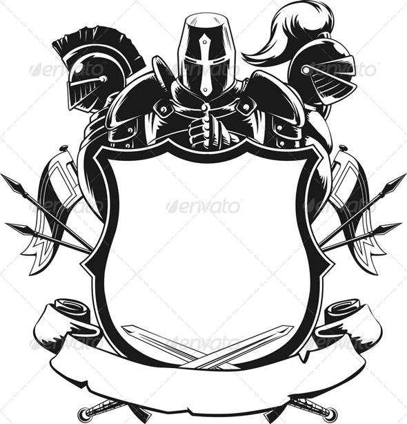 GraphicRiver Knight & Shield Silhouette Ornament 8071377