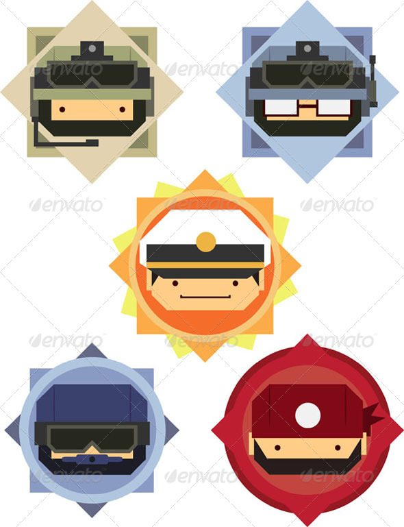 GraphicRiver Soldier & Officer Cartoon Icon Set 8071400
