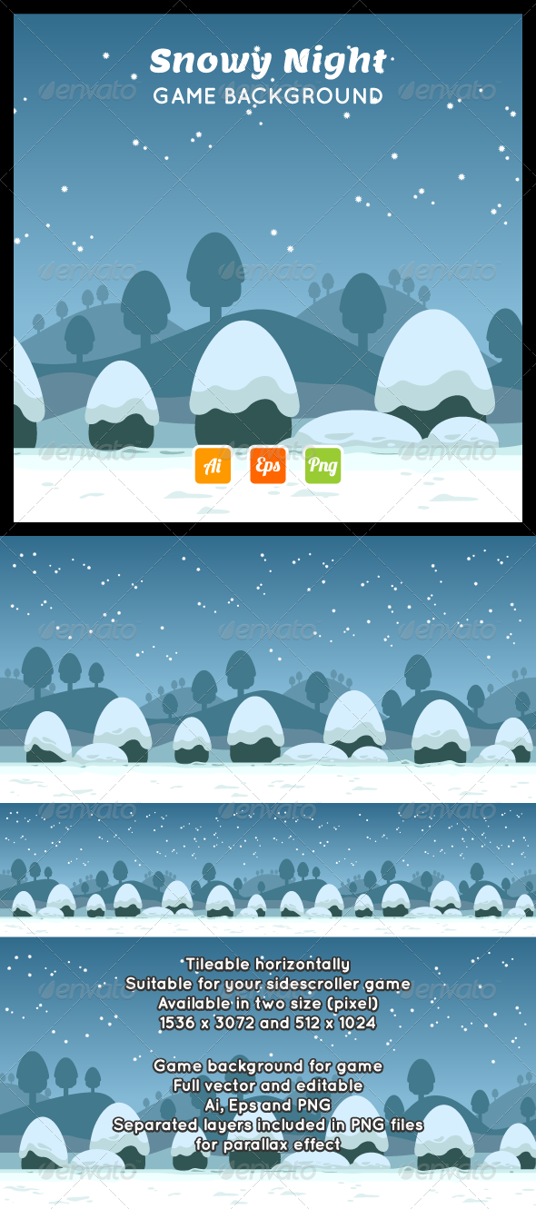GraphicRiver Snowy Night Game Background 8071403