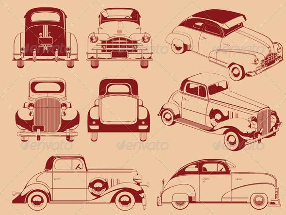GraphicRiver Old Car Outlines Set 8071407