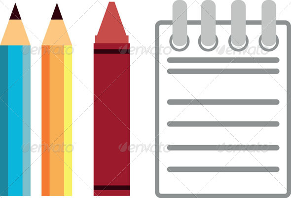 GraphicRiver Pencil Crayon & Notebook 8071417