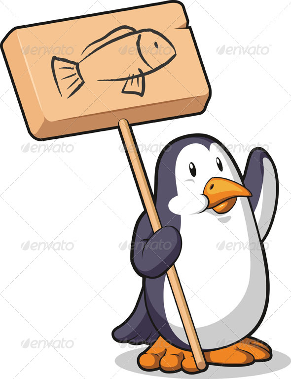 GraphicRiver Penguin Holding a Wooden Sign 8071418