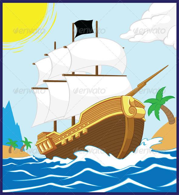 GraphicRiver Pirate Ship on the Shore 8071430