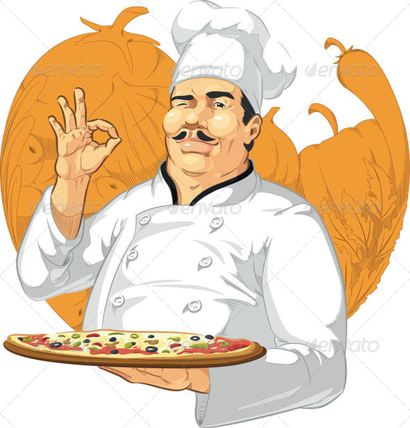 GraphicRiver Pizzeria Chef Holding Pizza Pan 8071454