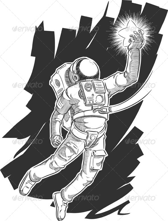GraphicRiver Sketch of Spaceman Grabbing a Star 8071527