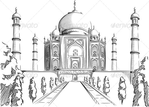 GraphicRiver Sketch of the Taj Mahal 8071533