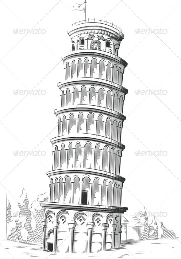 GraphicRiver Sketch of Leaning Tower of Pisa 8071534