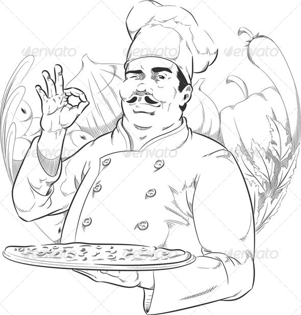 GraphicRiver Sketch of Pizzeria Chef 8071541