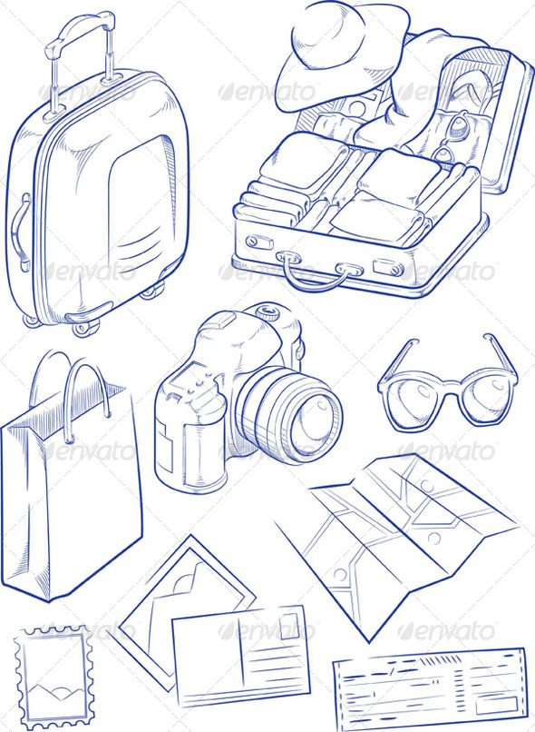 GraphicRiver Sketch of Travel Objects 8071548
