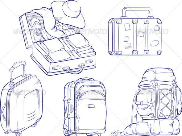 GraphicRiver Sketch of Travel Suitcase and Bag 8071551