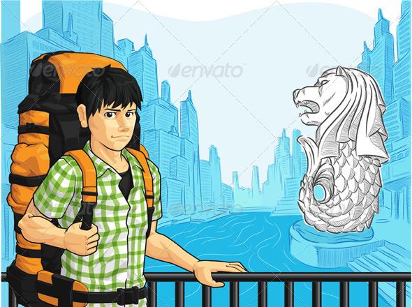 GraphicRiver Tourist in Singapore 8071564