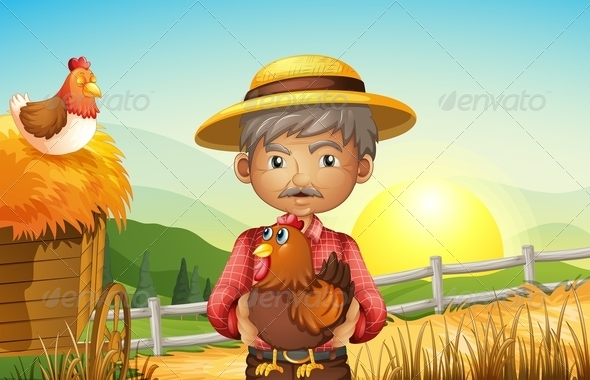 GraphicRiver Old Man on the Farm with Rooster 8071603