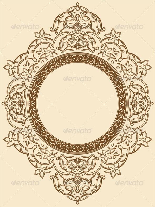 GraphicRiver Vintage Floral Circle Ornament 8071624
