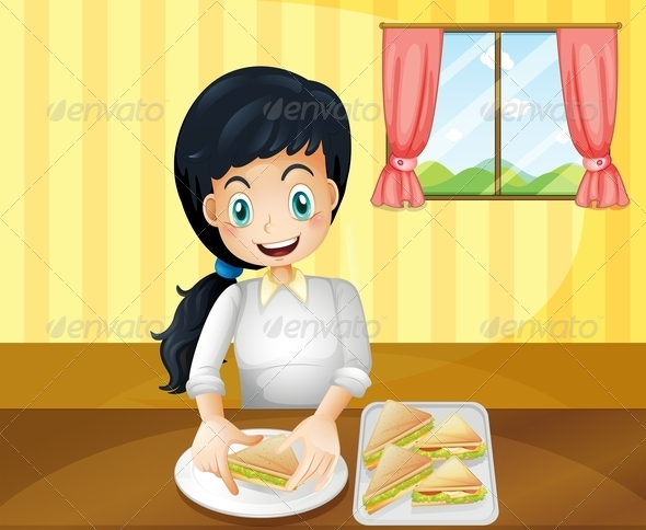 GraphicRiver Happy Woman Preparing sandwiches 8071741