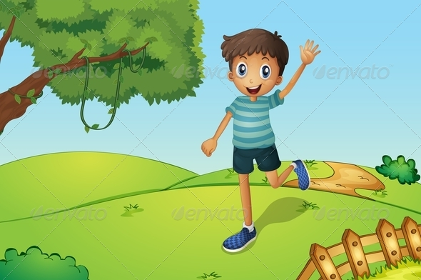GraphicRiver Happy Boy Running on the Hill 8071753