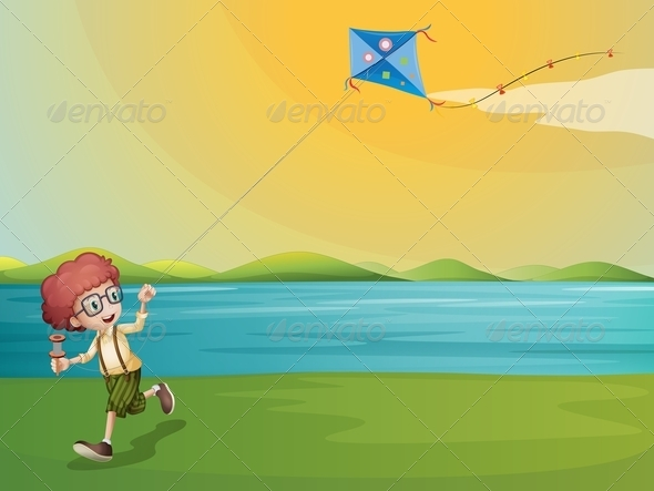 GraphicRiver Boy Flying a Kite 8071771